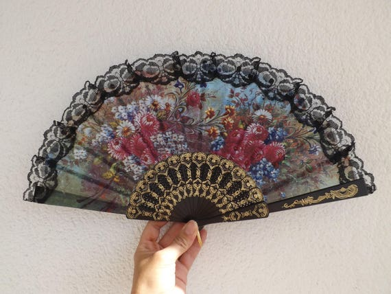 Black Lace Floral Lightweight Plastic Traditional Hand Fan Budget Price Folding Fan from Spain