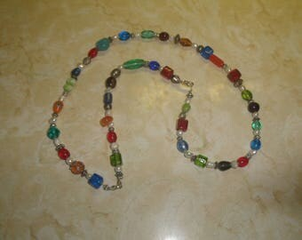 vintage necklace silvertone colorful glass beads