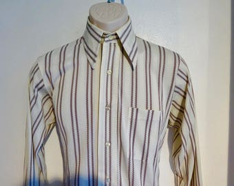 Vintage Mens Shirt/ 70s Disco Knit Shirt/ Cream Brown Stripe/ ARROW Knits/ Size Medium/ Soft Jacquard Knit Fabric