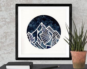 Original Watercolor Blue Mountain Geometric Space Painting Moon Star Galaxy Art OOAK