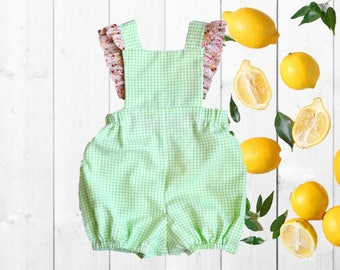 Summer Girl Bubble, Boy Romper, Gingham, Green, Floral, Ruffle | 3-6m-4T | Free Shipping