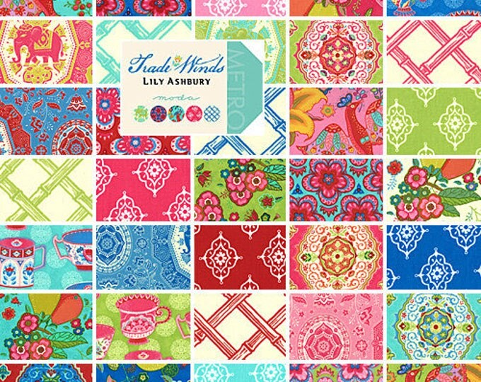 Featured listing image: Lily Ashbury Trade Winds COMPLETE COLLECTION, 35 Fat Quarters, Quilting Fabric Scraps