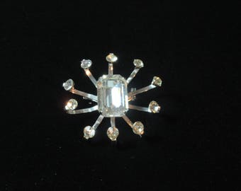 CORO Vintage Abstract White Rhinestones Bright Flower Pin