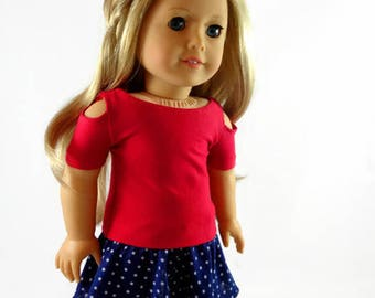 18 inch Doll Clothes, Open shoulder top, Skater Skirt designed to fit like American Girl® doll clothes 4th of July