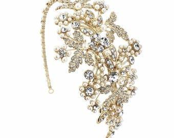 Gold Headband, gold pearl headband, grecian headband, gold grecian headpiece, bridal headband, ivory pearl headband,crystal pearl hairband,
