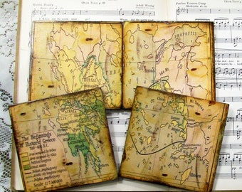 Greece Coasters, Greek Coasters, Greece Map Coasters, Old World Greece, Espresso, Gold Stained, Antiqued Map, Set of 4, Wood Coasters