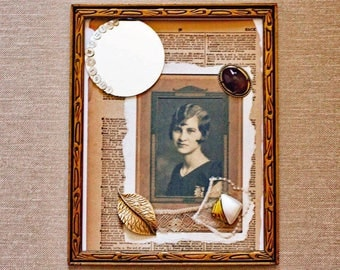 Mixed media, wall art, vintage photo, collage, collector art, framed wall decor