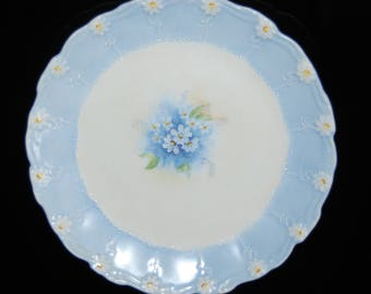 Vintage 1940's Hand Painted Decorative Plate Wall Hanger Wedgewood Blue Floral Design