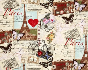 """PARIS COLLAGE Print  Valance or Panel  NO top Ruffle Version 40 x 14"""" 18"""" 24"""" or 32"""" Lined or unlined"""