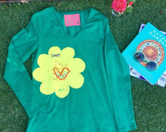 Green Womens Long Sleeves Tshirt, Flower Hand Painted Tee, Inspirational Message , Cool Alternative Fashion