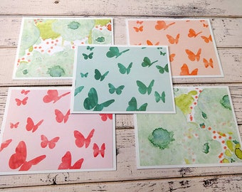 Note Card Set, Note Cards, Thank You Notes, Blank Cards, Set of 5 Note Cards with Matching Envelopes, Butterfly Cards, Butterfly Watercolor