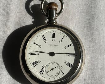 Vintage 15 Jewel Sterling Silver Waltham Pocket Watch