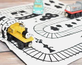 Set of 2 Organic Train Playmat, Eco Friendly Boys Gift, Train Play Mat, Organic toy, waldorf toy, kids travel gift, pretend play