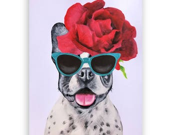 Whymsical Frenchie Painting, handpainted on high quality 250g Art paper, Holiday Frenchie gift, Coco de Paris: Frenchie with flowerhat