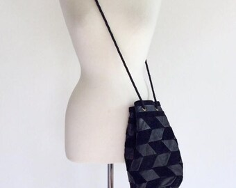 ON SALE 70s Black Suede Leather Pouch Handbag