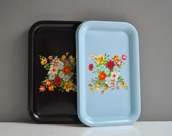 Pair of Vintage Metal Cornflower Blue Floral Serving Trays