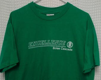 vintage Boise Cascade T shirt paper thin 50/50 80s Green Excellence outdoor Hanes L/XL tree lumber Northwest single stitching eighties USA