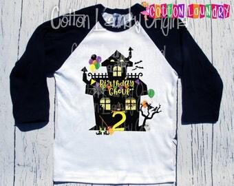 "Halloween birthday shirt Halloween monster theme birthday shirt baseball raglan style ""Birthday Ghoul"" Any age"