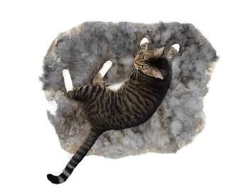 Cruelty Free, Alpaca Cat Bed, Felted Fleece Throw, Gray, Pet Mat, Natural Bedding, Fur Mat, Dog Bed, Accent Throw