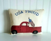 Americana Pillow | 4th of July decorations | USA decor | Patriotic home decor | Primitive decor | Red truck | Red White Blue | Ships now