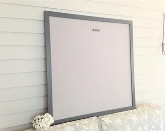 Supersized HUGE Magnetic Bulletin Board with our Handmade Wood Frame in Superwhite 36 x 36 Memo Message Board with Pale Gray Linen Fabric