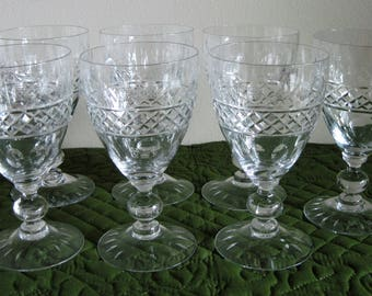 7 Vintage Mid Century Tiffin Crystal Water Goblets Wine Goblets Criss Cross Cuts Ovals Cut Foot Glasses Circa 1950's
