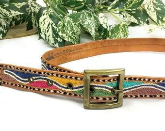 Vintage Leather Rainbow Embroidered Belt size Medium