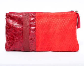 Evening textured red leather bag / chic embossed bordeaux leather clutch bag / red leather pouche/ leather charm/ bright red purse gift idea