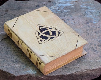 Wood burned book with drawer featuring Triquetra