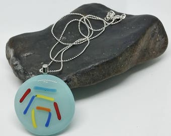 Blue Abstract Line Glass Pendant with Silver Chain