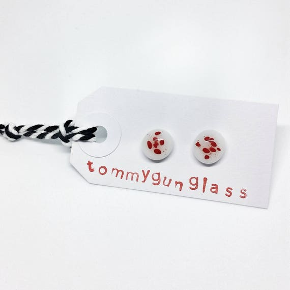 Red and White Glass Stud Earrings