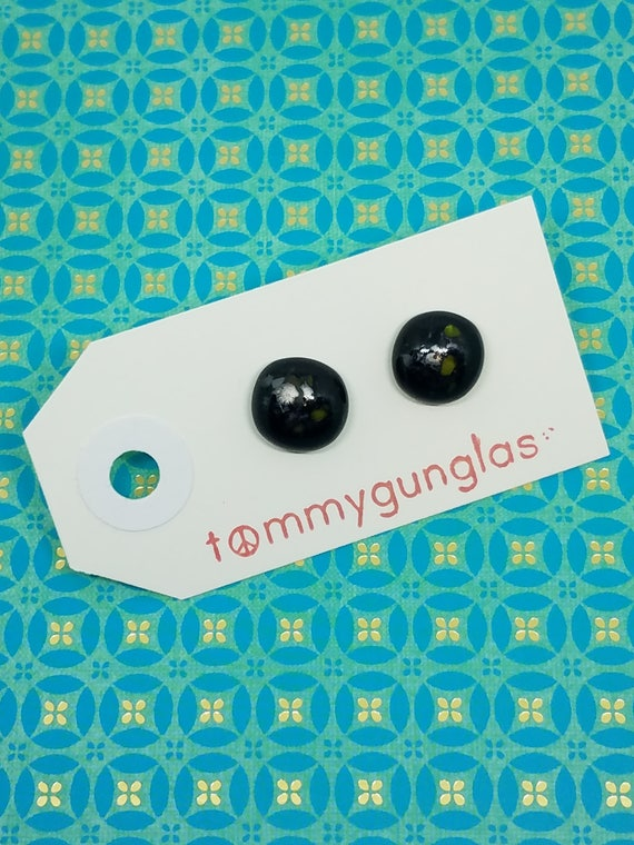 Speckled Black Glass Stud Earrings