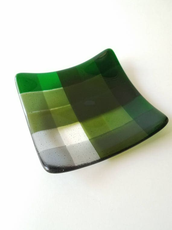 Green and Gray Glass Dish