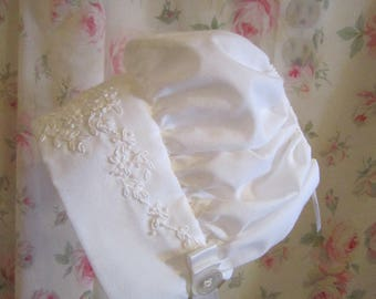 White French Baby Bonnet with White Embroidery