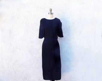 1/2 Off SALE 50s Black Dress, Rayon Evening Frock