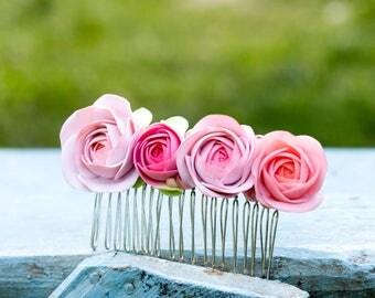 Pink Flower Ranunculus Hair Comb Wholesale Hair Women Accessories Jewelry Piece Wedding Bridal Birthday Hair Dress Gifts