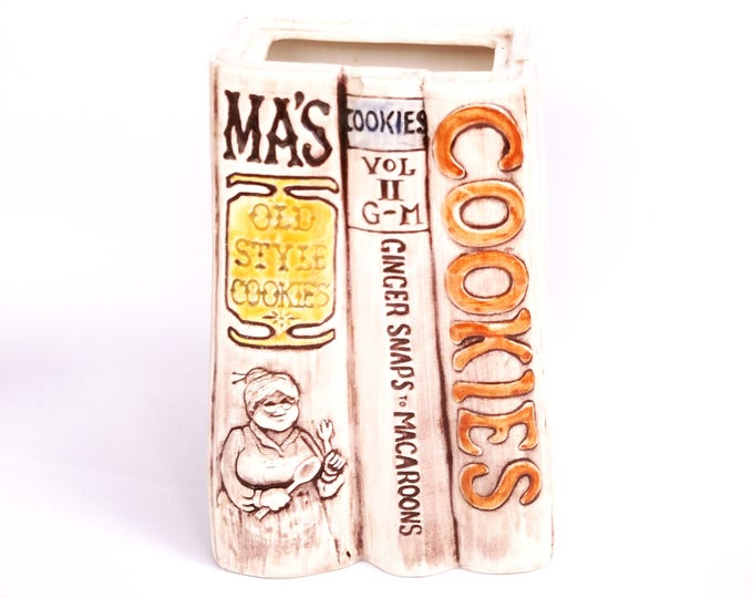 Vintage 1970's Ceramic Container of Baking Cookbooks Ma's Old Style Cookies