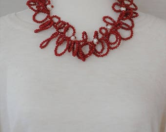 Bib Necklace, Red and white Necklace, Gift for her, Red Crystals and Pearls necklace, short necklace, Valentines gift, Curly red necklace