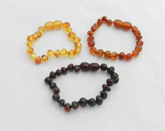Ready to ship! Amber Bracelet Teething Relief Baltic Amber Pain Relief Choose your color
