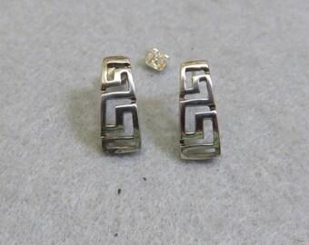 Vintage Sterling Silver Stud Geometric Design Pierced Earrings, Modern Pierced Earrings