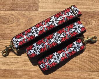 Guitar style bag strap  Handmade Adjustable Heraldic Diamond Red White Black Tapestry