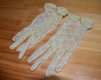 Vintage Sheer Yellow Embroidered Gloves