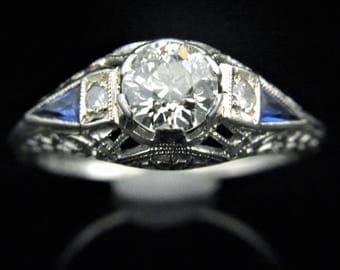 Ooak Aqua Blue Zircon And Fancy Fan Cut Diamond 14k Yellow