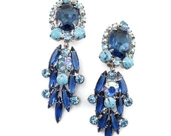 RARE Vintage D&E JULIANA Blue Turquoise AB Rhinestone Dangle Earrings Show-stopper Book Piece!