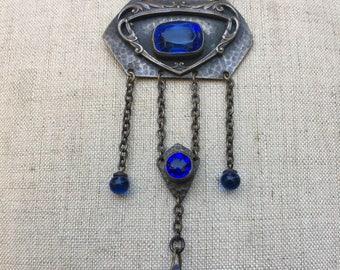 Cobalt blue Arts and Crafts art nouveau assemblage necklace