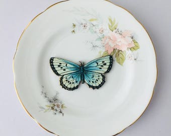 Blue Black Moth Butterfly Insect Bone China with Peach Flowers Display 3D Plate Collage Sculpture for Wall Decor Birthday Wedding Gift