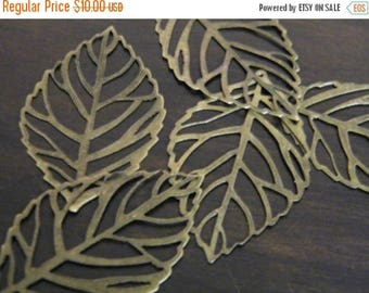 ON SALE 60 Antiqued Bronze Filigree Leaves Thin Leaf Pendants 54x31mm DIY Jewelry Making Necklace Pendants Bronze Leaf Charms Earring Charms