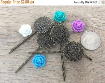 ON SALE 10 x Antiqued Bronze Ornate Round Hair Clips Bobby Pins Tray 25mm Diameter Length: 55mm