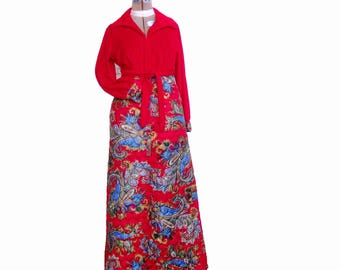 1960s Mod Loungewear, Psychedelic Maxi Dress, Hostess Gown, Quilted,  JCPenney