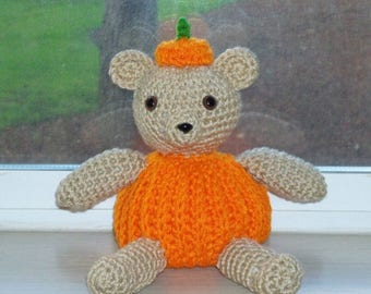 Christmas In July Sale Amigurumi Pumpkin Bear - Hand Crocheted Teddy Bear for Fall